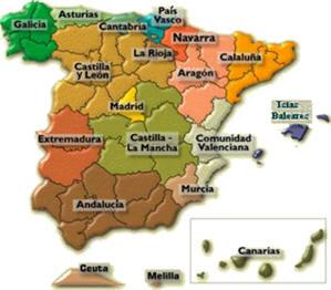 Cartina Spagna Con Regioni E Capoluoghi.Divisione Amministrativa Della Spagna Regioni Spagnole