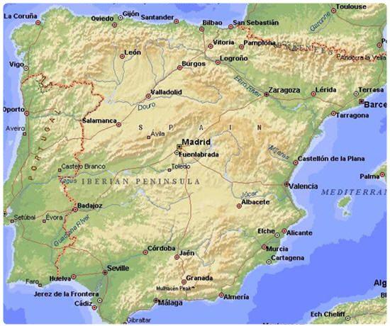Cartina Rilievi Spagna.Geografia Della Spagna