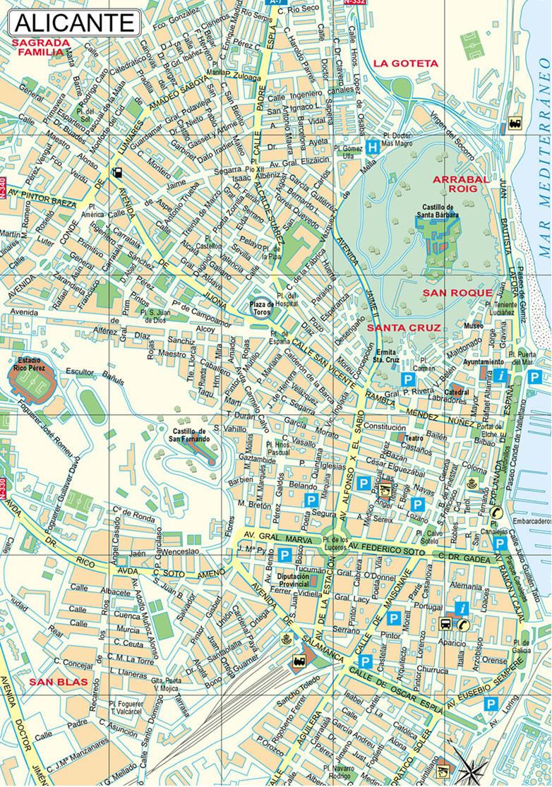 Cartina Alicante Spagna.Mappa Alicante Cartina Di Alicante In Spagna