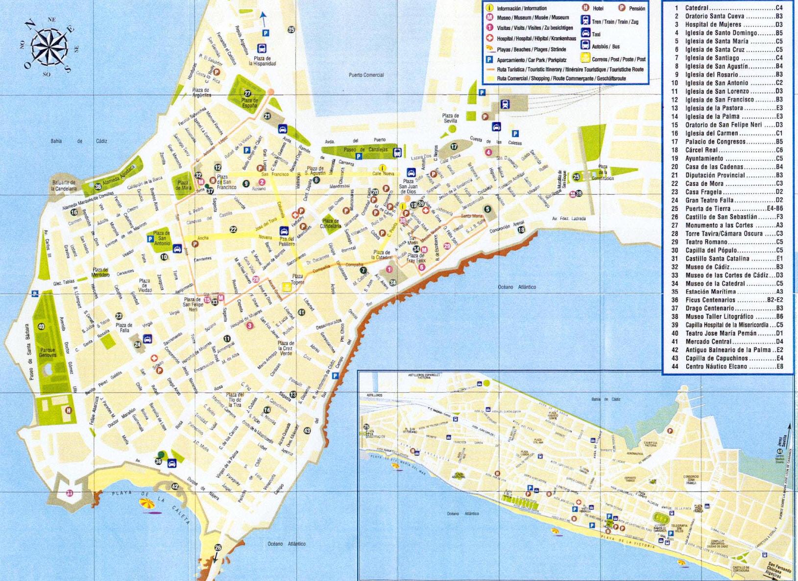 Cartina Turistica Spagna.Mappa Cadice Cartina Di Cadice In Spagna