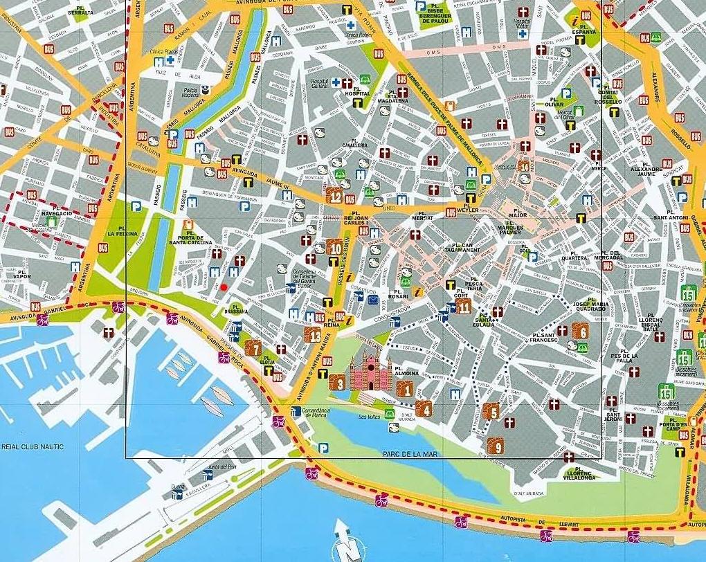Mappa palma di mallorca cartina di mallorca in spagna for Pianta palma