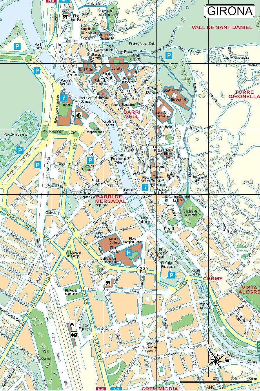 Cartina Mappa Spagna.Mappa Girona Cartina Di Girona In Spagna