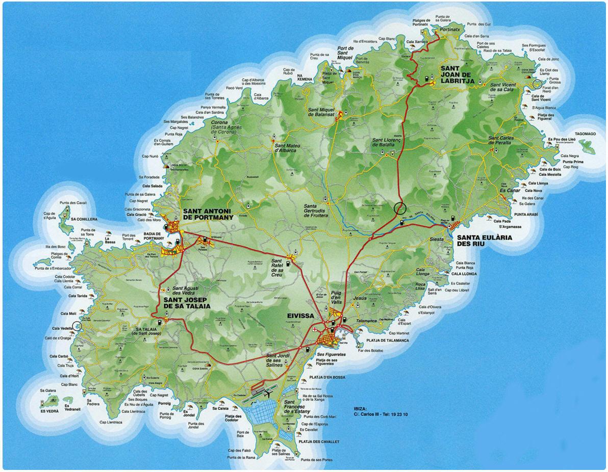 Cartina Geografica Spagna Isole.Mappa Ibiza Cartina Di Ibiza