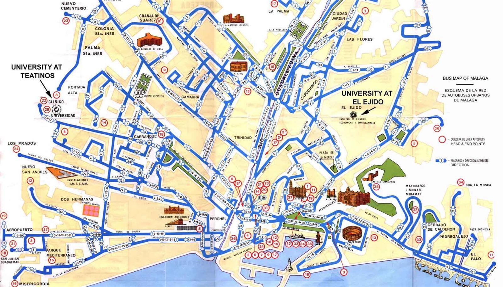 Malaga Spagna Cartina.Mappa Malaga Cartina Di Malaga