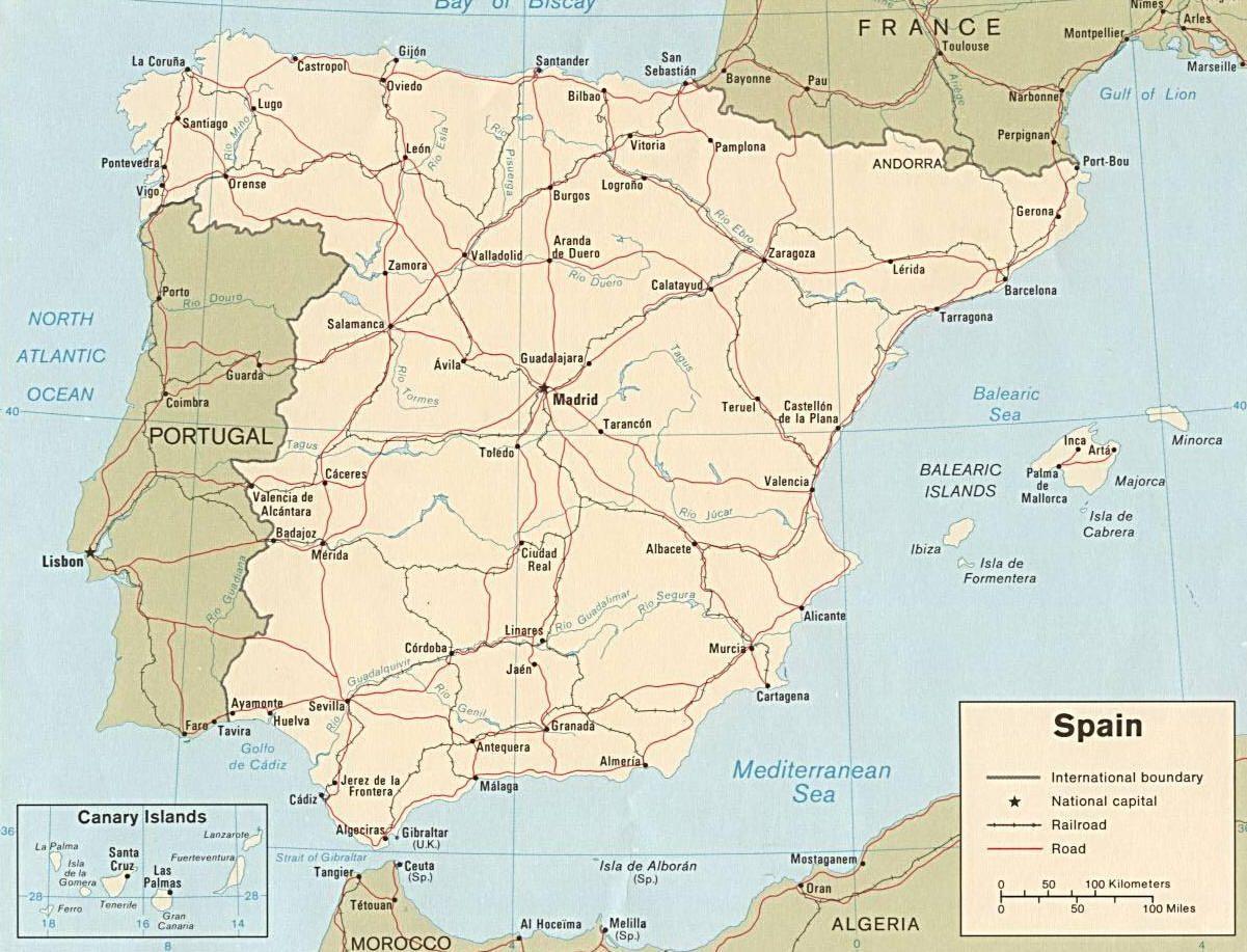 La Spagna Cartina.Mappa Della Spagna Cartina Della Spagna E Della Penisola Iberica