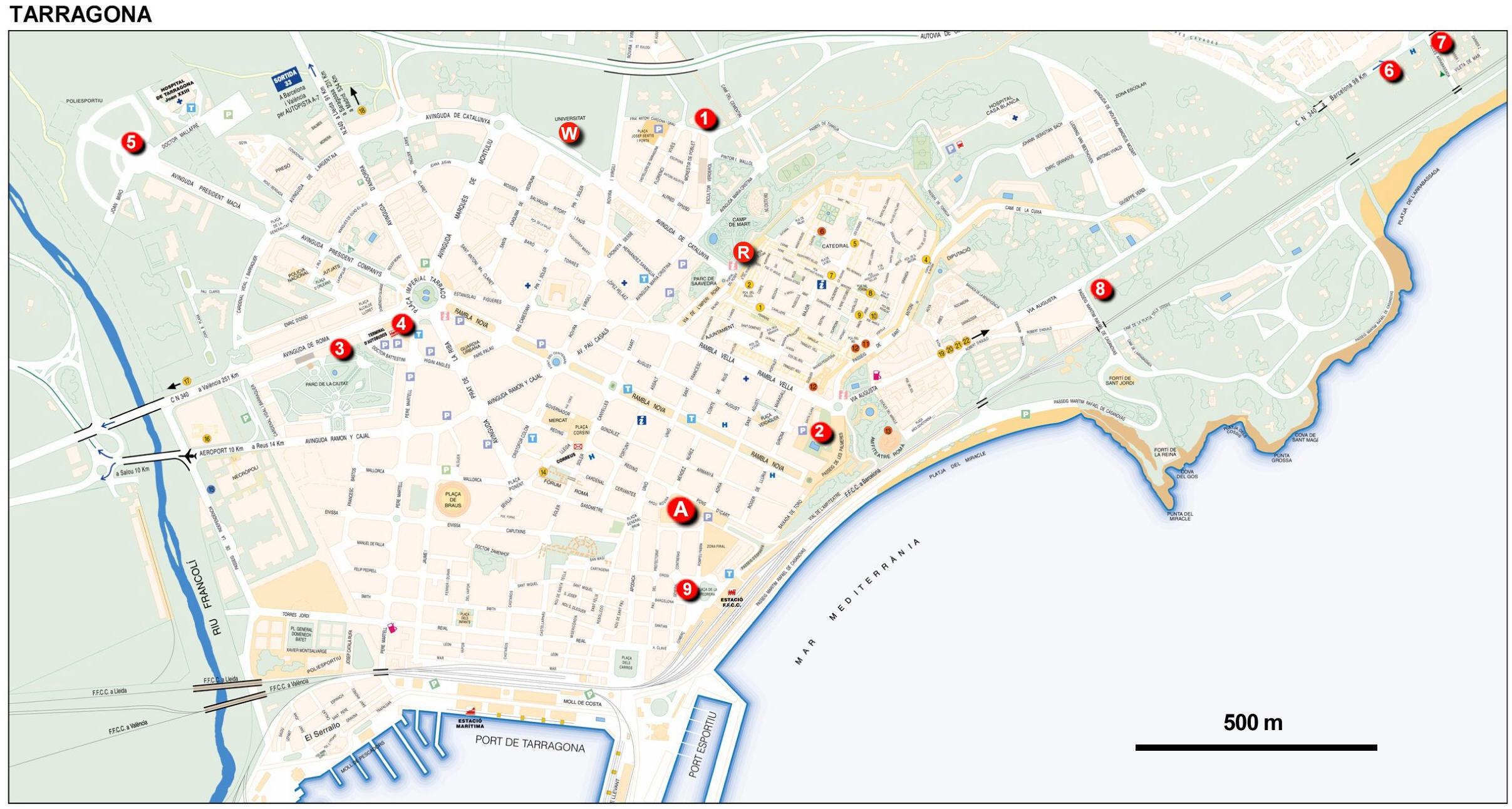Cartina Spagna Tarragona.Mappa Tarragona Cartina Di Tarragona In Spagna