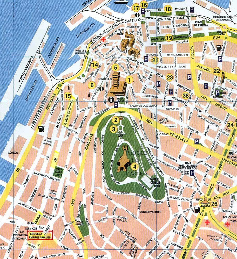 Cartina Mappa Spagna.Mappa Vigo Cartina Di Vigo